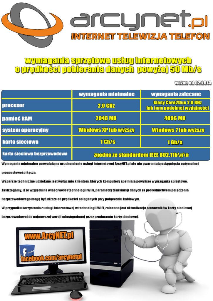 Wymagania sprzętowe - prędkość Internetu do 100 Mbit
