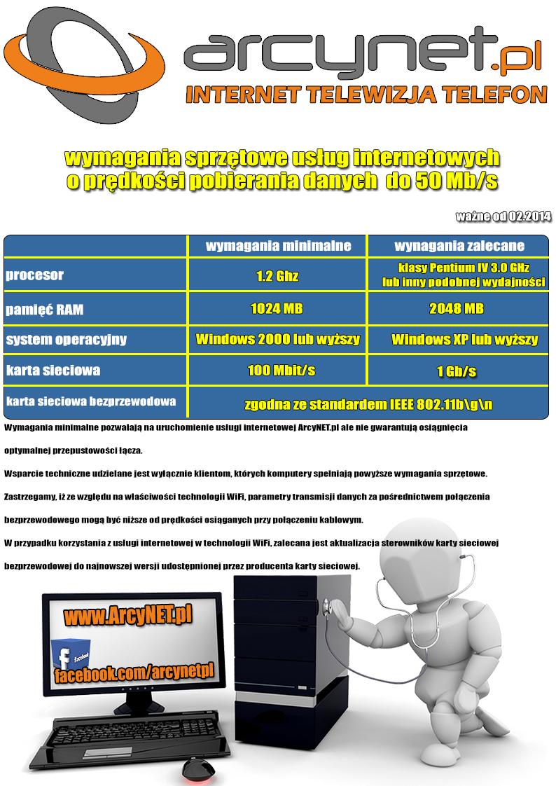 Wymagania sprzętowe - prędkość Internetu do 50 Mbit
